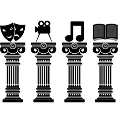 Pedestals of arts stencils vector