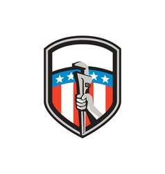 Plumber hand pipe wrench usa flag shield retro vector