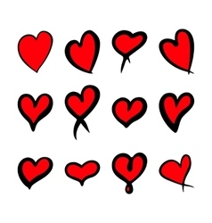 Red hearts set valentine day love adult xxl vector
