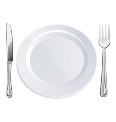 Empty plate and knife and fork cutlery vector