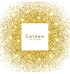 Abstract golden glitter sparkles frame vector