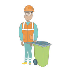 Young hispanic builder pushing recycle bin vector