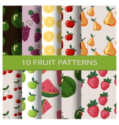 Set of fruit patterns vector