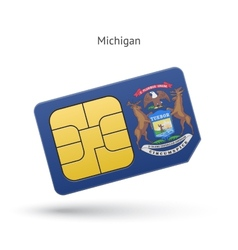 State of michigan phone sim card with flag vector