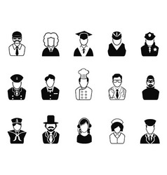 Occupations avatars user icons set vector