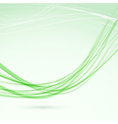 Green abstract wave lines modern flyer vector