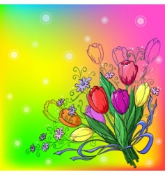 Flower tulips background vector