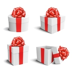 Set collection of white celebration gift boxes vector