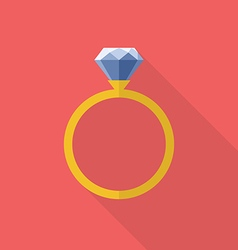 Diamond ring icon flat style vector