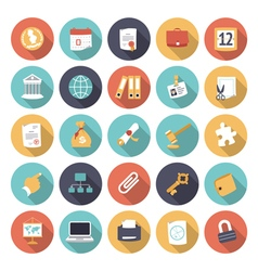 Icons flat colors business office vector