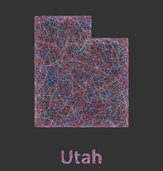 Utah line art map vector