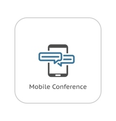Mobile conference icon flat design vector