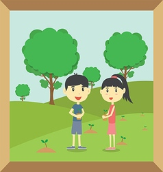 Boy and girl planting small trees vector