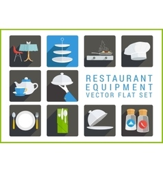 Restaurant utensil flat icons vector