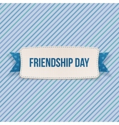 Friendship day tag with ribbon and shadow vector