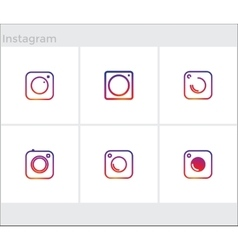 Social media icons set photo camera instagram vector