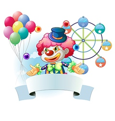 A clown with a signage and a ferris wheel and vector image