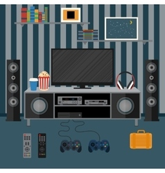 apartment with a home cinema vector image vector image