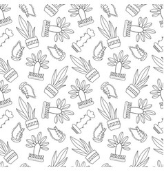 black and white outlined cactus seamless vector image vector image