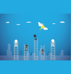 businessmen climbing ladder to get trophy cup vector image vector image