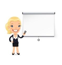 Businesswoman gives a presentation or seminar vector