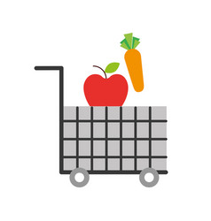 Cart shopping food supermarket vegetable and fruit vector