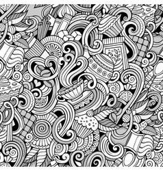 Cartoon hand-drawn doodles of cafe coffee shop vector