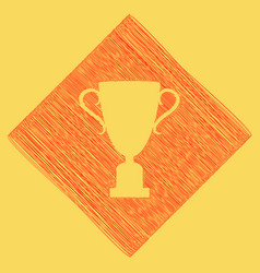 Champions cup sign red scribble icon vector