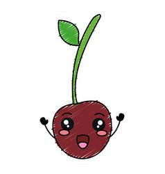 Cherry fresh fruit kawaii character vector