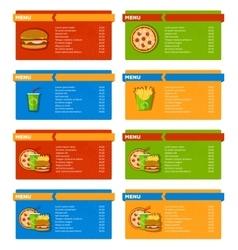 Fast food menu banners vector
