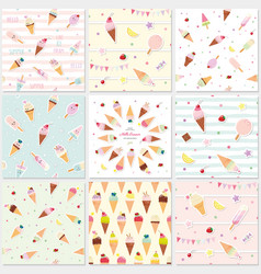 festive seamless pattern set with sweets ice vector image