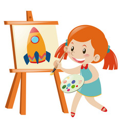Girl drawing rocket on canvas vector