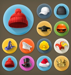 Hats long shadow icon set vector