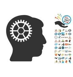 Intellect cog icon with 2017 year bonus pictograms vector