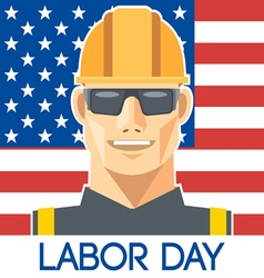 Labor Day design with a worker with safety helmet vector image