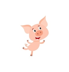 Little pig with swirling tail running on rear legs vector