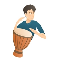 Man plays on drum icon flat style vector