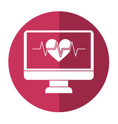 monitor heartbeat cardiology rhythm shadow vector image