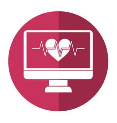 Monitor heartbeat cardiology rhythm shadow vector