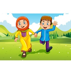 Muslim boy and girl holding hands vector image