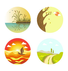 nature views on four circles isolated on white vector image vector image