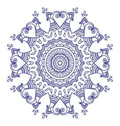 Purple doodle paisley mandala hand drawn vector