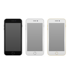 Realistic smartphone icon set - black solver and vector