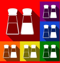 Salt and pepper sign set of icons with vector