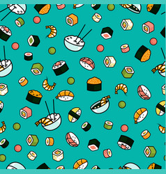 seamless sushi pattern vector image vector image