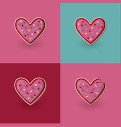 Set of heart shape cookies valentine day concept vector