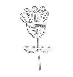 Sketch draw flower cartoon vector