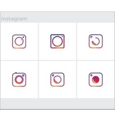 Social Media Icons set photo camera instagram vector image