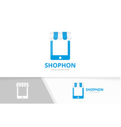 Store and phone logo combination market vector