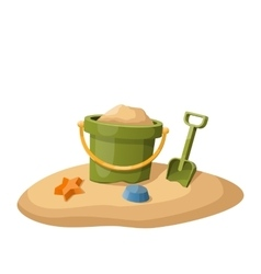 Toy bucket and shovel in sand isolated on white vector image vector image